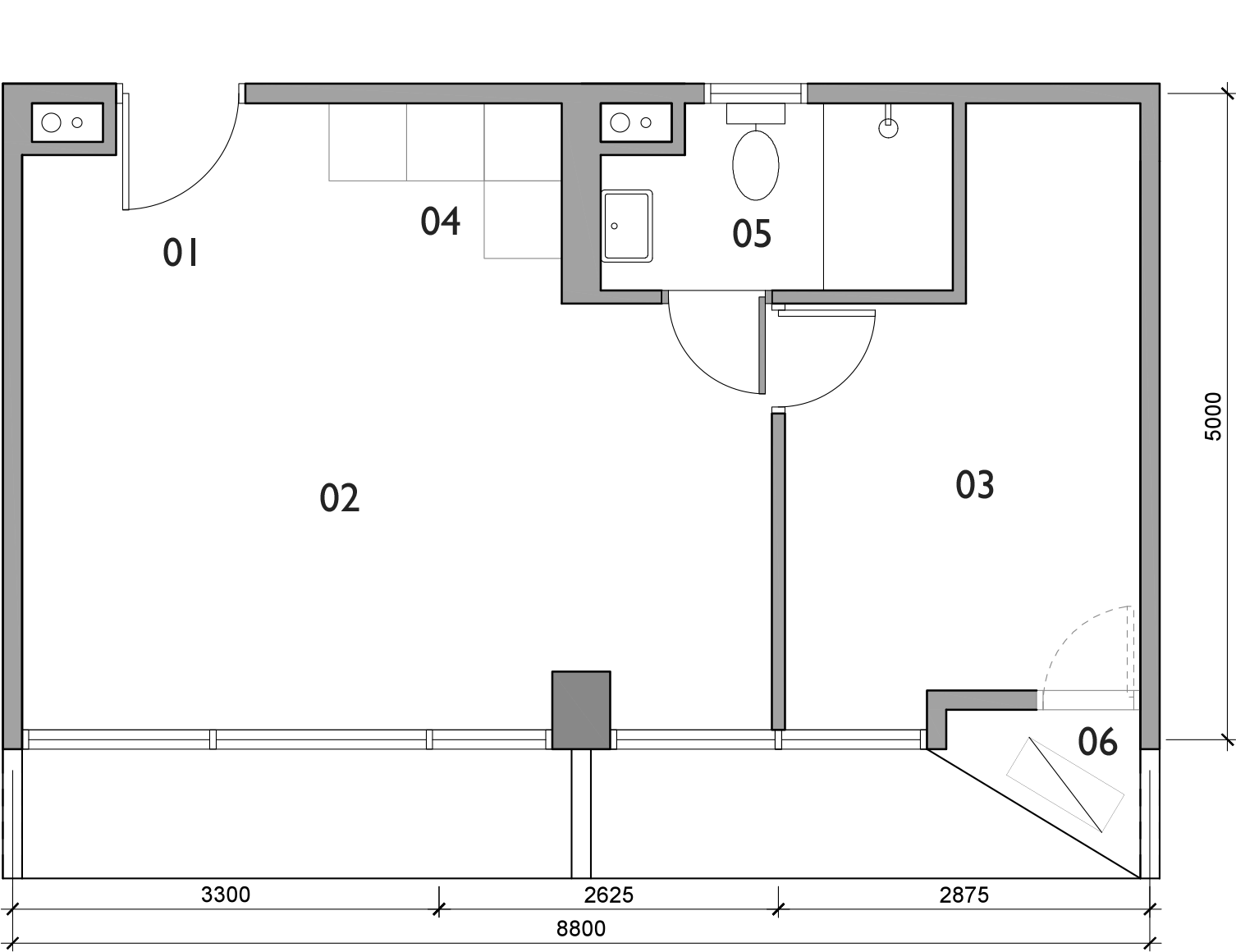 Plan for Studio unit